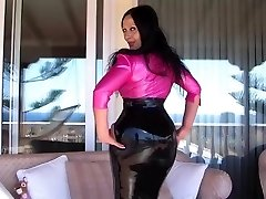 Sexy Busty Latex Diva on the Terrace - Blowjob Handjob with long rosy nails - Jism on my Milk Cans