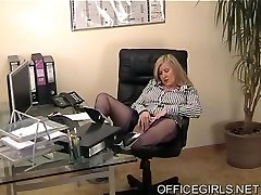 Chubby Assistant In Blue Silk Stockings