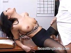 Horny office mega-slut in stockings sucks like a pro!