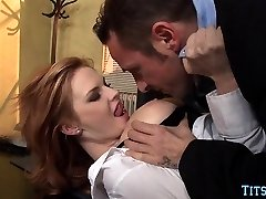 Redhead Honey gets Dick at Office