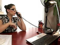 Hot blonde and black-haired office bitches fuck on a desk