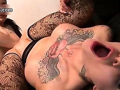 Nasty tattooed slut gets her shaved partThree