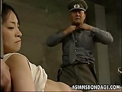 Japanese chick restrained down and stuffed with fat pricks
