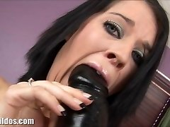 Clara is gaped by a ginormous brutal dildo machine