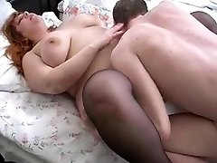 redhead bbw mommy and her sonny on bed