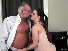 Angelina Brill porks an older gentleman