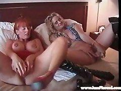 Pierced lesbian MILFS with good-sized toys stretching vagina