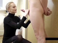 Jizz on clothes for the sexy platinum-blonde