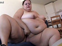 Very Fat lady likes getting horny by herself