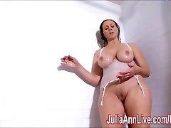 Sexy Milf Julia Ann Lathers Her Big Baps in Bathroom!