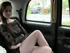 Stellar Brit girl deep throats in fake taxi