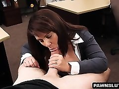 Busty brunette stunner sucks sausage at the pawn shop