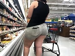 Wide Butt Bbw Latina with Booty Eating Shorts Part 1