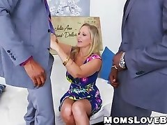 Sizzling blonde MILF Julia Ann hammered in 3 way by BBCs