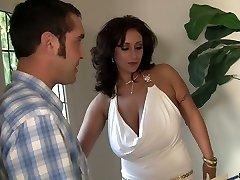 Huge boobed MILF Eva Notty rimming her man before hard-core fuck