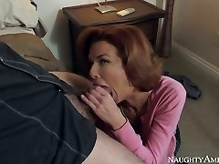 Red haired busty MILF Veronica Avluv drinks massive man-meat of Dane Cross
