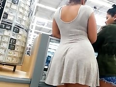 Candid booty mixed girl in sundress