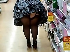 Thick Woman In Tights And Heels Shopping