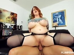 Sexy Tattooed BBW Cougar Gets Her Stockinged Feet Fucked