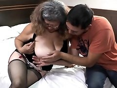 Delivery boy fucks with aged granny with big bra-stuffers