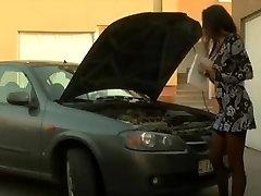Chesty Brunette - Gets Buttfuck Assistance From Mechanic