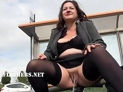 Chubby Andreas public bareness and wild mum flashing outdoors with british