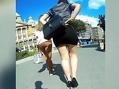 perfect booty in sluty miniskirt