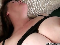 Chesty grandma has to take care of her pulsating hard clit