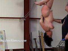 Suspended slaves hooter whipping and hardcore restrain bondage