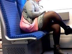 BBW Woman with Nylon gams candid