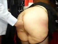 Chubby french MILF with a enormous bum fucked in a sex shop