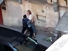Spying a fat gal get fucked from balcony