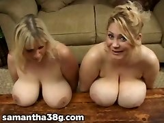 2 Yam-sized Boob MILFS Shake Tits and Rub Nipples
