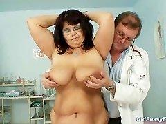 Big-boobed mature woman Daniela boobs and mature pussy gyno exam