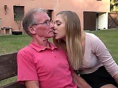 Hefty old cock teaching teenie blonde anal fuck postures