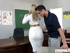 Extremely sexy big racked towheaded teacher was pulverized right on the table
