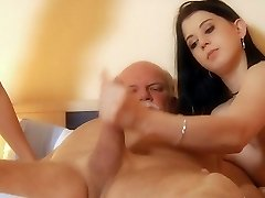 Old jaintor teased and penetrated by slutty young maids