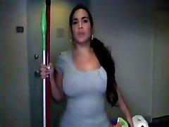 Phat ass Latina maid gets naked