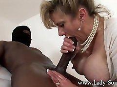 MILF Gal Sonia strokes Meaty black cock