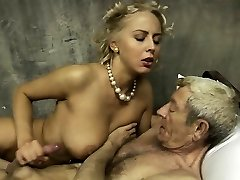 Enormous boobs and young pussy for successful old man