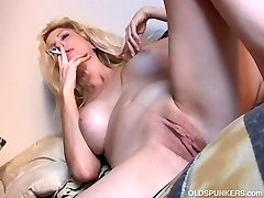 Sexy old spunker has a smoke & plays with her mouth-watering twat