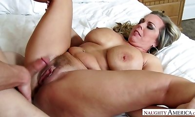 Mega busty stepmom Amber Lynn Bach is humped by insane 19 yo stepson