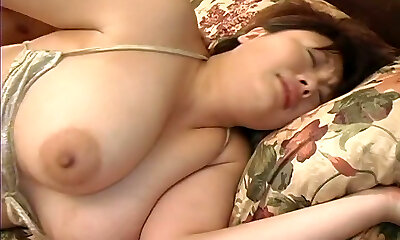 Fur Covered cunt of super busty Japanese Milf Sakura Kawamine gets fucked doggy