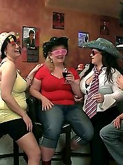 Three BBWs and three muscular men hook up at the drunken party for damn fine sex