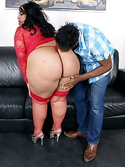 Giant black BBW slut in red nylon bends over to get plowed doggy style