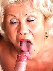 Gorgeous older babe Francesca kneads her fat breasts while a young stud pounds her hairy pussy