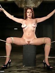 brSexy long-legged redhead Sabrina Fox is a newbie here at Kink.com but not a newbie to bdsm...