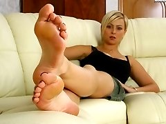 Kinky blonde mistress in search of new slaves shows her feet and dirty shoes that need to be...