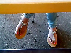 Candid Asian Teen Library Feet in Sandals 1 Face
