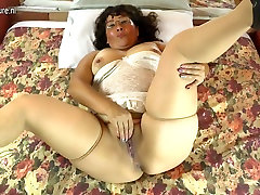 Horny amateur Latin strapon ass fuckers orgy mom playing with her hairy pussy